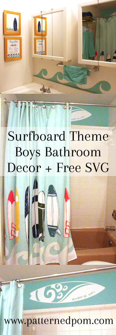 Freshening up a boys bathroom theme from baby to older boy style with a surfboard theme.
